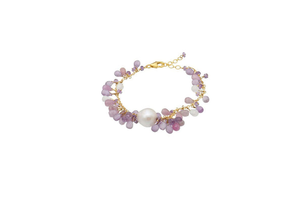Sterling Silver Gold Plated Fresh Water Pearl Ruby Amethyst Moonstone Bracelet