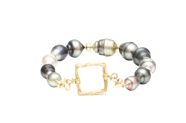Sterling Silver Gold-Filled Black and Grey South Sea Baroque Pearl Bracelet