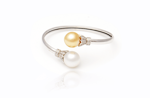Sterling Silver South Sea Pearl with Gold Cubic Zirconia Bangle