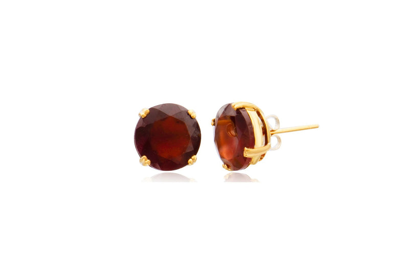9K Yellow Gold Hessonite Garnet Round Stud Earrings