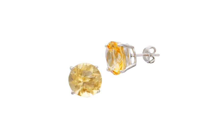Sterling Silver Citrine Round Stud Earrings