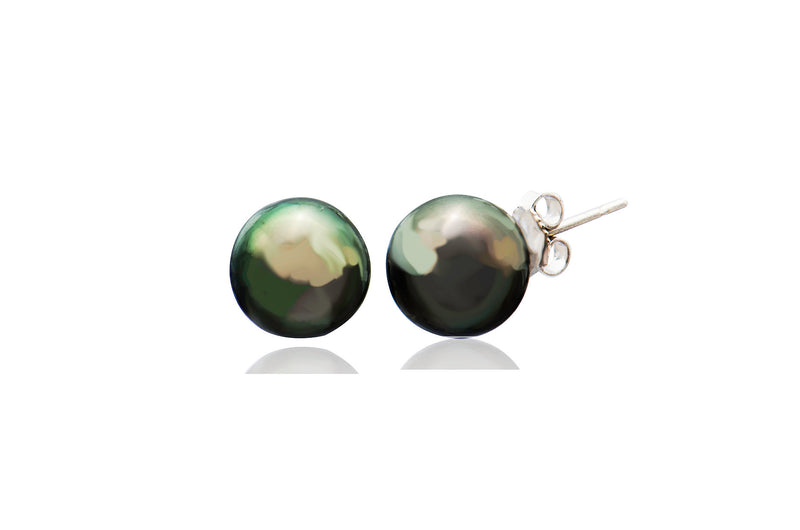 9K White Gold Black South Sea Pearl Round Stud Earrings