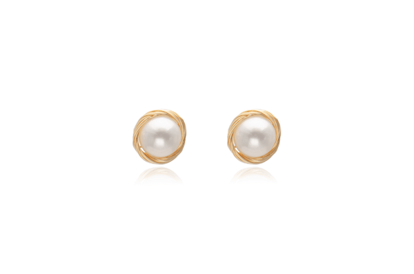 Gold Filled Surround Fresh Water White Pearl Stud Earring
