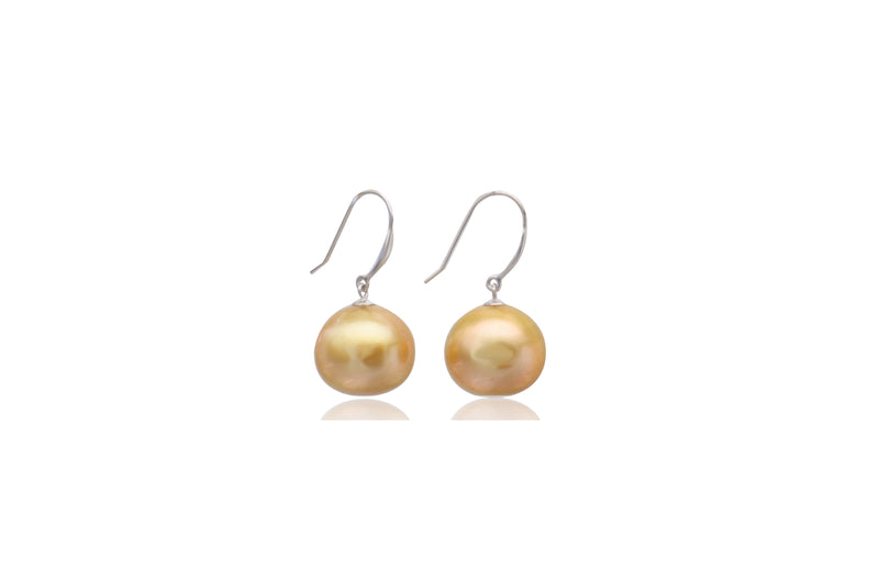 9K Yellow Gold South Sea Pearl Earrings