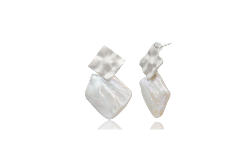 Sterling Silver White Freshwater Pearl Post Earrings Square