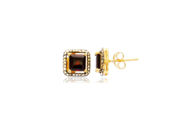 Gold Plated Sterling Silver Garnet Diamond Square Stud Earrings