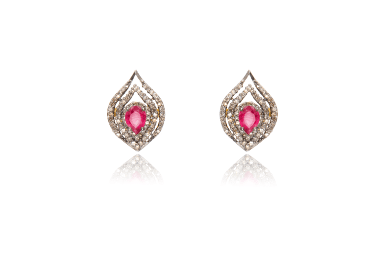 Gold Plated Ruby Diamond Marquis Stud Earrings