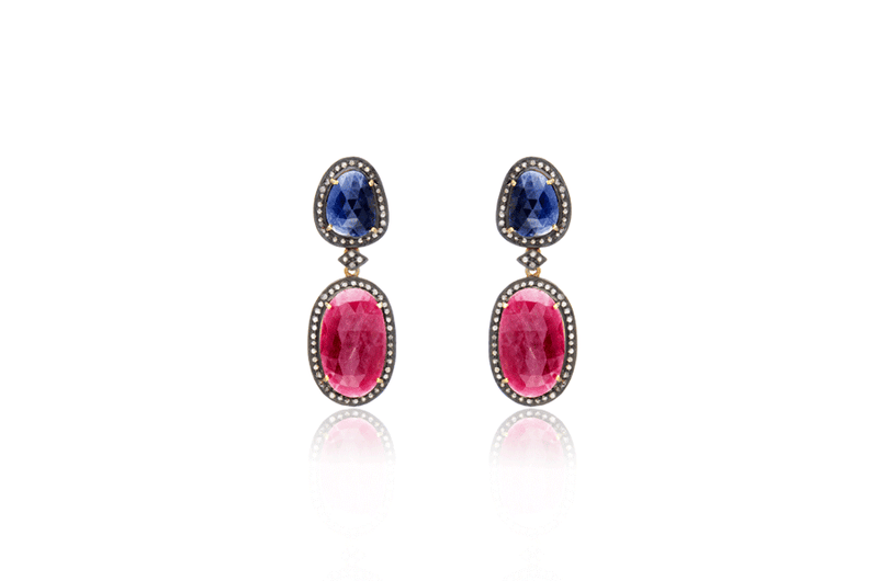 Sterling Silver Gold Plated Sapphire Ruby Diamond Oval Earrings