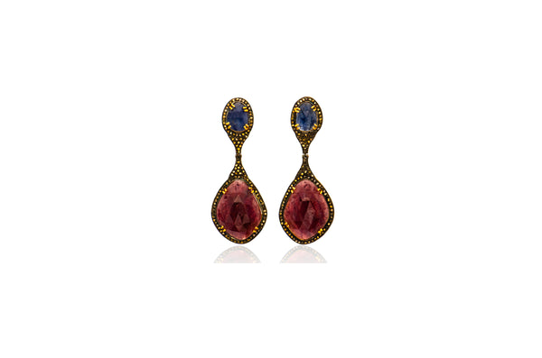 Sterling Silver Gold Plated Blue Red Sapphire Diamond Post Earrings