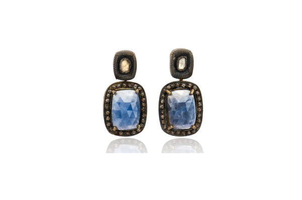 Sterling Silver Gold Plated Sapphire Black Diamond Polki Earrings