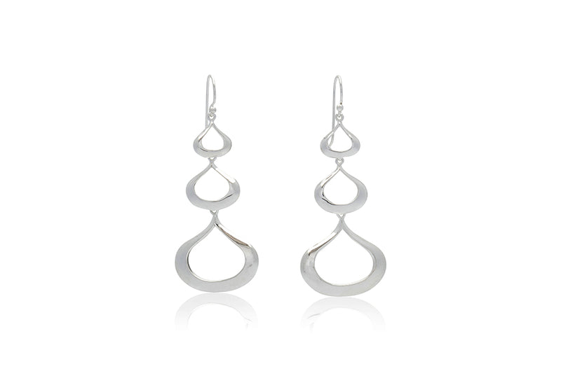 Sterling Silver Open Teardrop Cascade Earrings