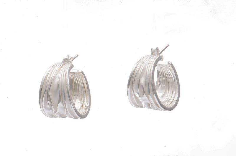 Sterling Silver Textured Half Hoop Earrings