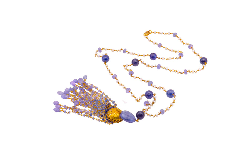 Sterling Silver Sapphire Tanzanite Freshwater Pearl Tassel Necklace