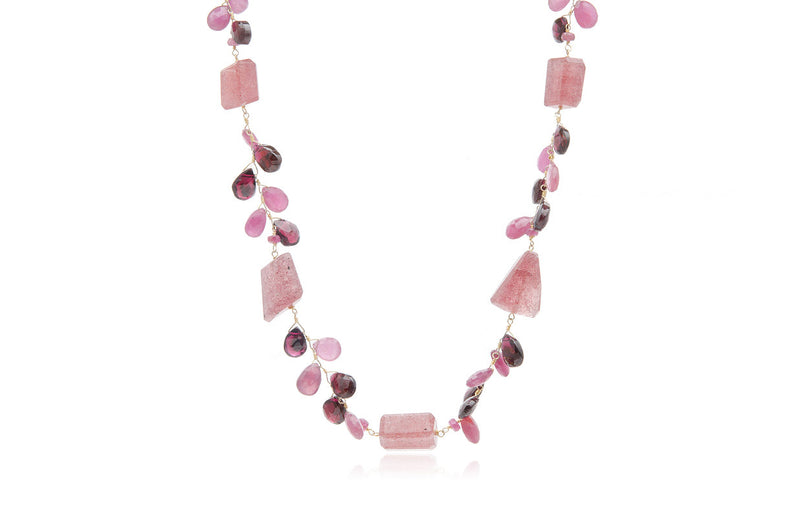 Sterling Silver Gold-Plated Tourmaline Ruby Garnet Necklace