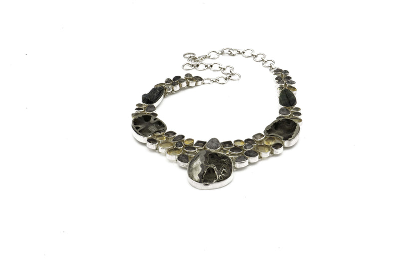 Sterling Silver Citrine Tourmaline Quartz Pyramid Necklace