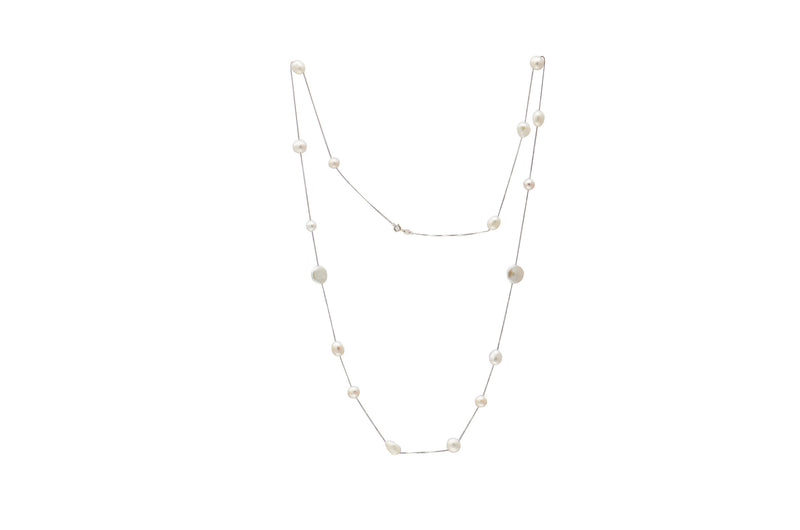 Sterling Silver White Baroque Pearl Necklace