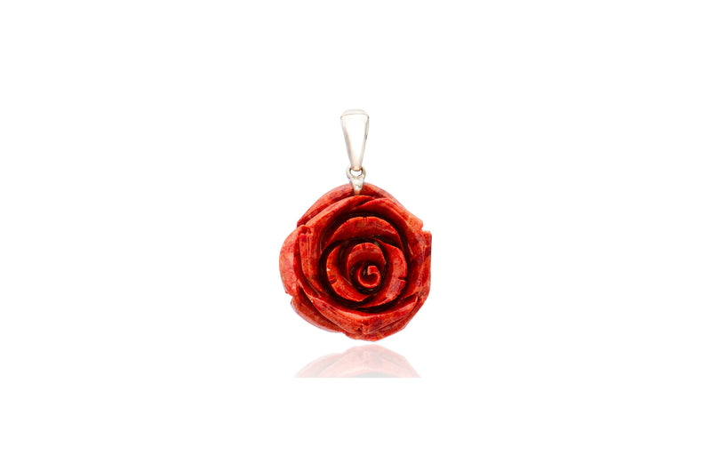 Sterling Silver Coral Rose Flower Pendant