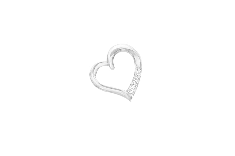10K White Gold 3 Diamond Heart Pendant