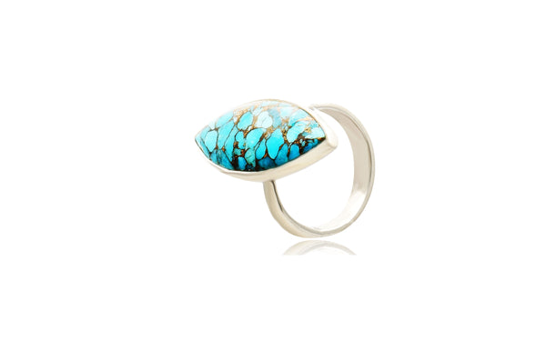 Sterling Silver Turquoise Marquise Faceted Rings