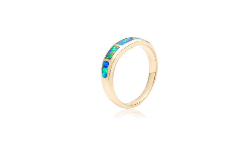 9K Yellow Gold Opal Inlay Ring