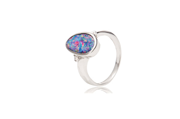 Sterling Silver Cubic Zirconia Opal Doublet Irregular Ring