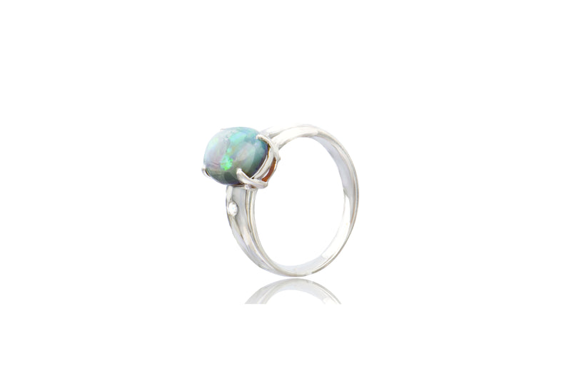 Sterling Silver Australian White Opal Cubic Zirconia Oval Ring