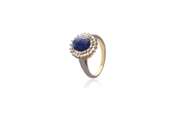 Sterling Silver Gold Plated Diamond Sapphire Oval Ring