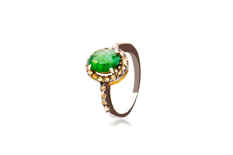 Gold Plated Sterling Silver Diamond Emerald Oval Ring