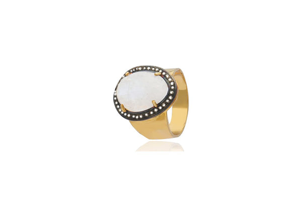 Sterling Silver Gold Plated Moonstone Oval Diamond Ring