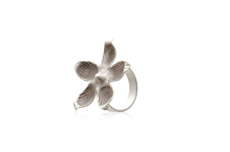 Karen Sterling Silver Hammered Oxidised Flower Ring