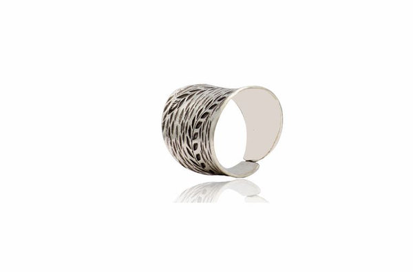 Sterling Silver Handmade Karen Oxidized Pattern Ring