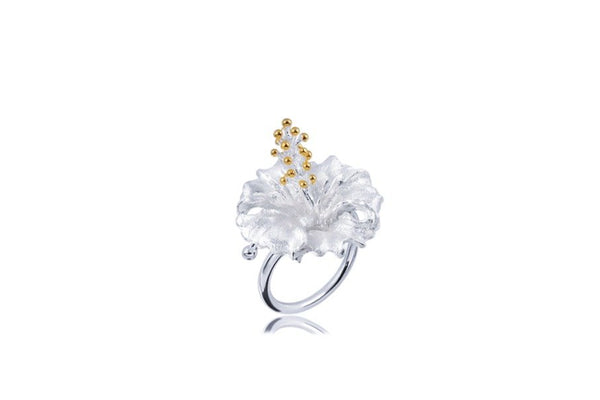 Sterling Silver Gold Plated Statement Flower Ring