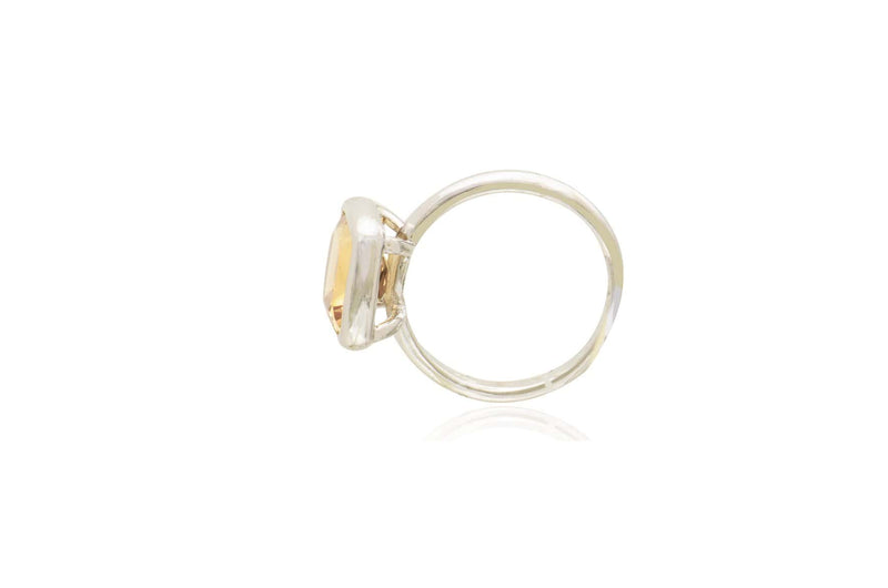 Sterling Silver Citrine Square Ring
