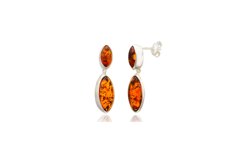 Sterling Silver Amber Marquise Post Earrings