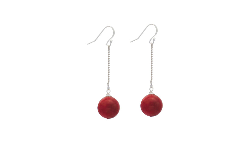 Sterling Silver Red Coral Ball with Chain Drop Earrings