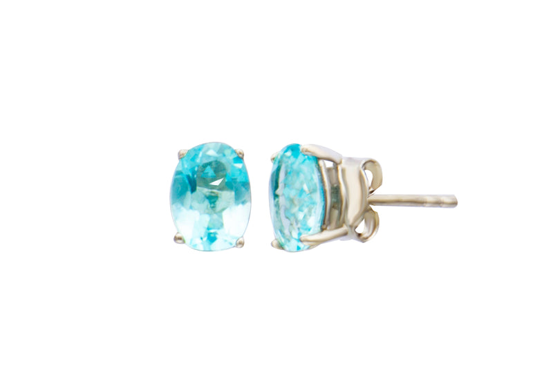 Sterling Silver Blue Topaz Oval Stud Earrings