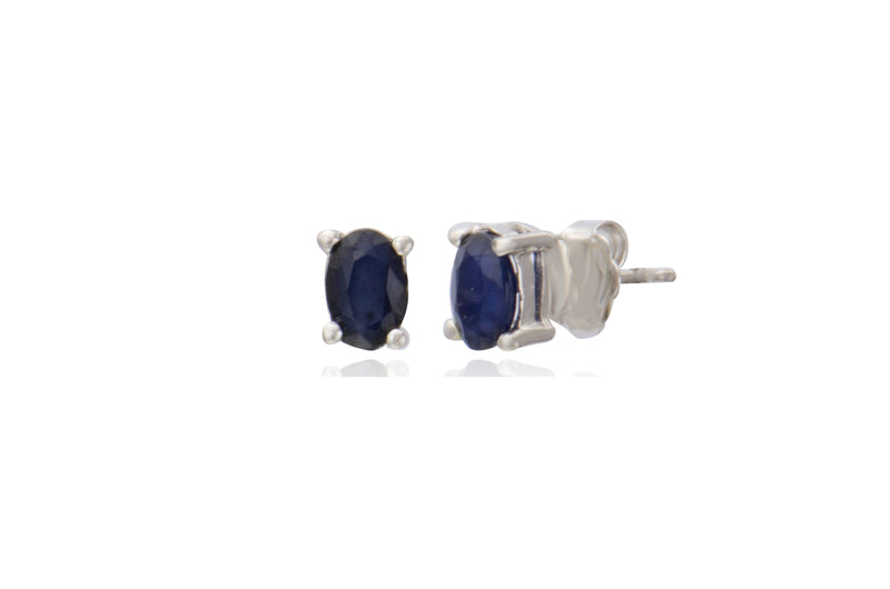Sterling Silver Faceted Loyal Blue Sapphire Stud Earrings