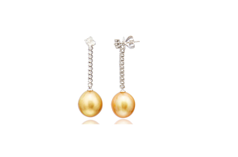 18K White Gold Diamond Gold South Sea Pearl Post Earrings