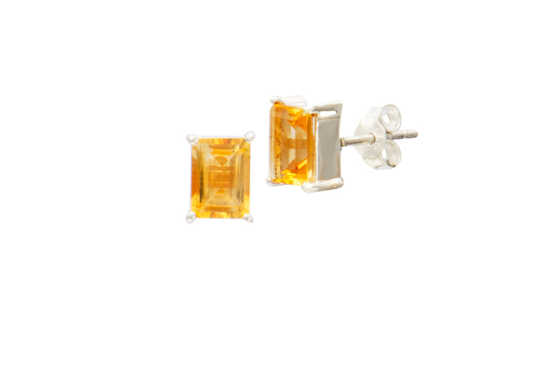 Sterling Silver Citrine Rectangle Stud Earrings
