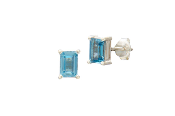 Sterling Silver Blue Topaz Rectangle Stud Earrings