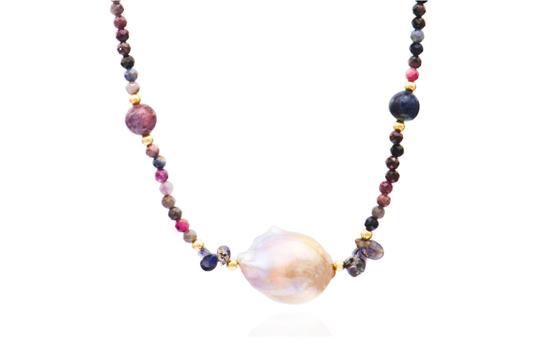 14K Yellow Gold Mixed Sapphire Baroque Pearl Necklace
