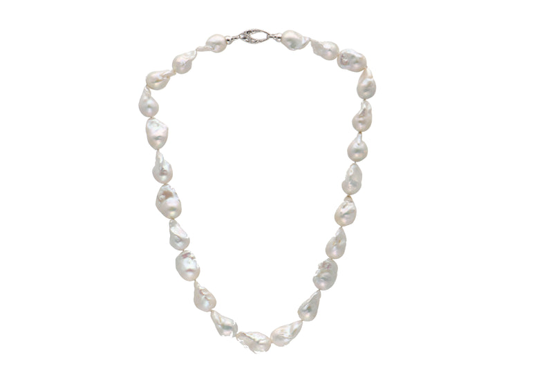 Sterling Silver White Freshwater Baroque Pearl Necklace