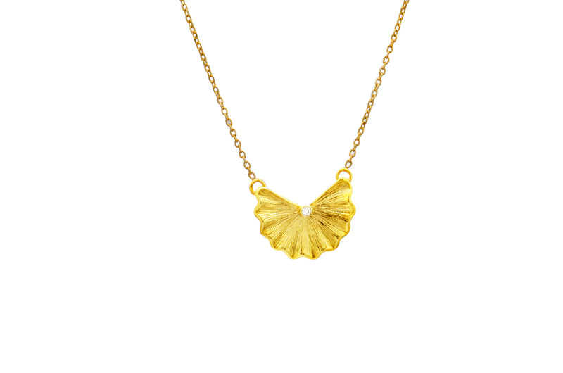 14K Yellow Gold Diamond Leaf Pendant