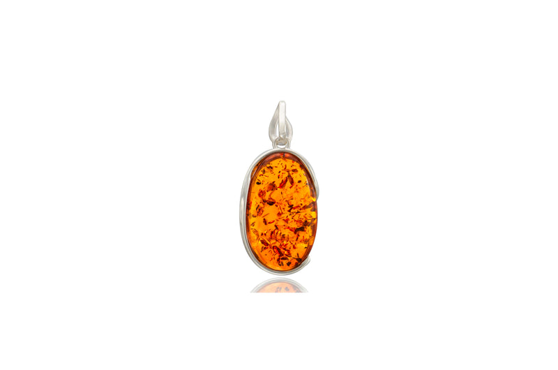 Sterling Silver Amber Oval Pendant