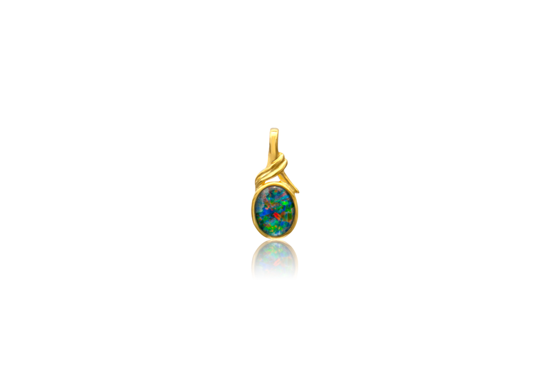 Sterling Silver Gold Plated Triplet Opal Oval Pendant