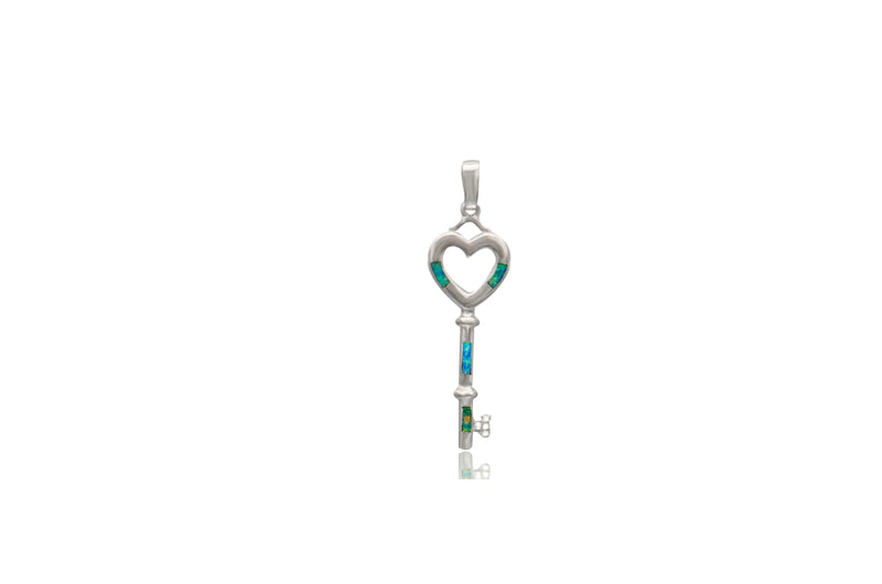 Sterling Silver Opal Inlay Cubic Zirconia Pendant