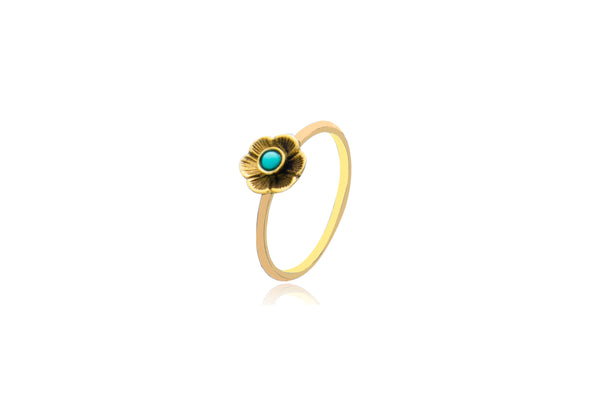 Sterling Silver Gold Plated Turquoise Flower Ring