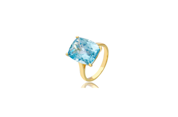 9K Yellow Gold Blue Topaz Oblong Ring