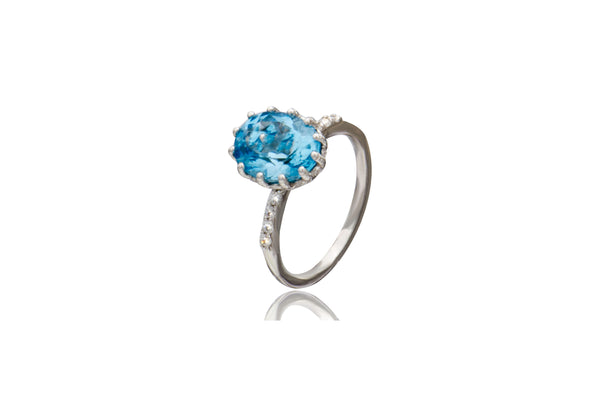 Sterling Silver Blue Topaz Oval Cubic Zirconia Ring
