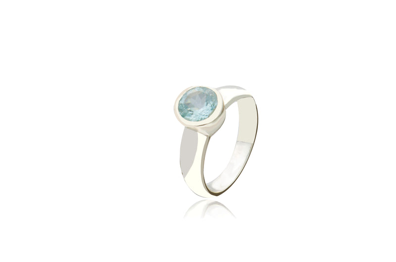 Sterling Silver Aquamarine Round Ring